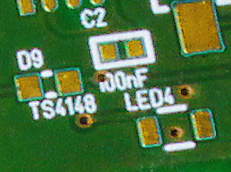 Component labeling and footprints on a green PCB